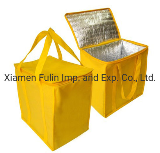 Promotional Custom Printed Zippered 12 Can Cooler Bag Ice Cool Bag Large Reusable Non-Woven Picnic Cooling Bag Thermal Insulated Food Lunch Cooler Bags
