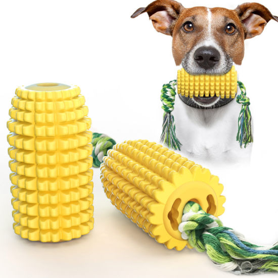 Non Toxic Innovative Dog Toy Corn Shape Molar Stick Bite-Resistant TPR Dog Chew Toy with Rope