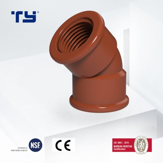 Plastic PVC Pph Pipe Fitting for Hot Water Supply Chemical Industry 45 Deg Elbow Pn10 Pn16