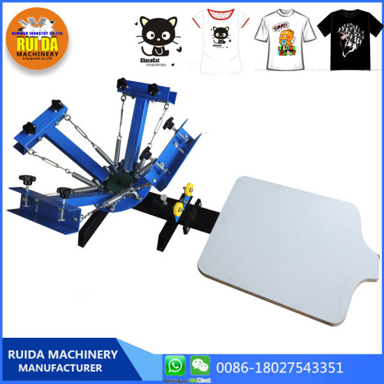 2376d1c6 Ns401-S Manual 4 Color 1 Station Printing Press Machine T-Shirt Silk Screen  Printing Machine