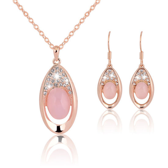 Promotion Gift Wholesale 2018 Top Design Women Fashion Jewelry Accessories Wedding Earrings Fashion Women Pink Crystal Jewelry Set pictures & photos