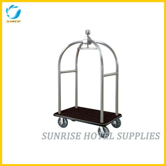 Hotel Stainless Steel Luggage Trolley with Silver Chrome Finish