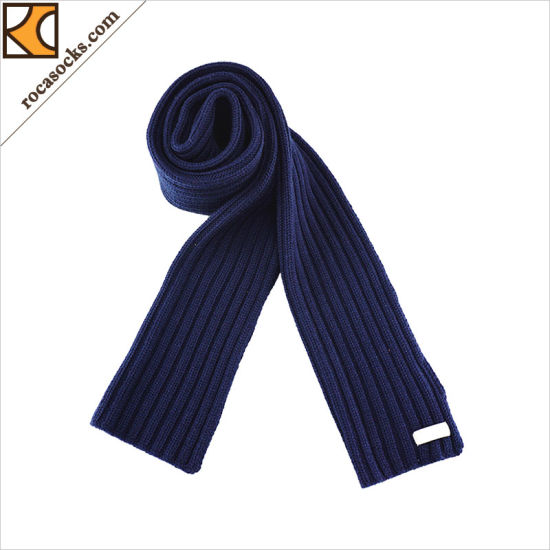181003-Sc Classic Warm Navy Merino Wool Men Scarf pictures & photos