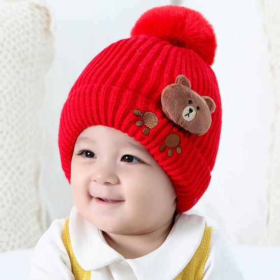 Baby Boy Girls Cute Warm Knit Bear Hat Toddler Kid Winter Crochet Beanie Cap  ... f9438bb72482