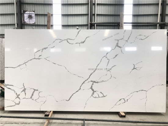 Foshan Artificial Stone Calacatta White Marble Look Quartz Stone for Kitchen Countertop pictures & photos