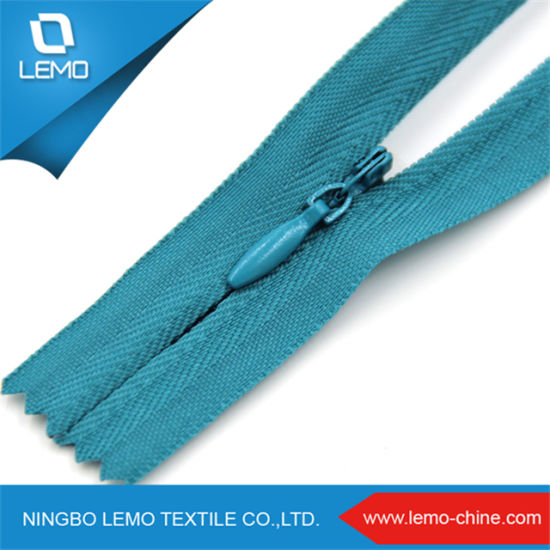 Colored Cotton Tape Invisible Zipper with Decorative Zipper Pull Retail or Wholesale