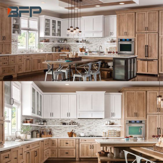 Classic Style Solid Wood Kitchen Cabinet with Shaker Panel Door Bsk 44 pictures & photos