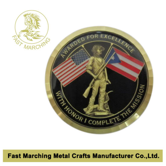 China Custom Souvenir Military Challenge Coin with Wave Edges