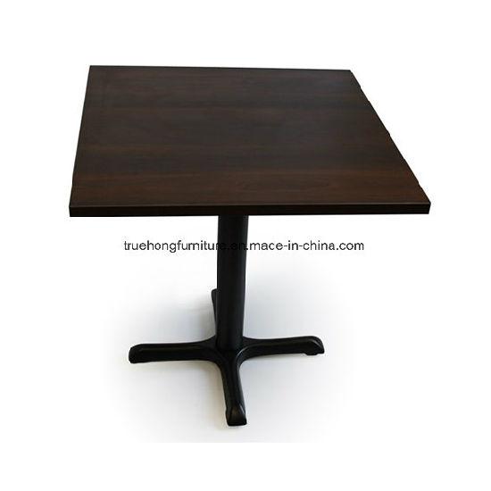 Restaurant Furniturelaminate with Cast Iron Base Square Table