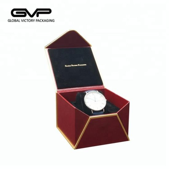 Handmade Fashion Red Leatherette Paper Watch Box Cases Wholesale Envelope Shape Watch Packaging Box
