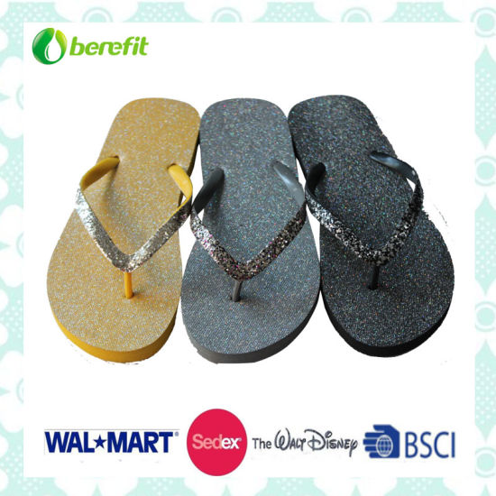 Glitter Decoration Women's Slippers with PE Sole and PVC Straps