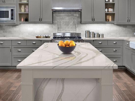 China Calacatta Series Quartz Stone Slabs For Kitchen Countertop