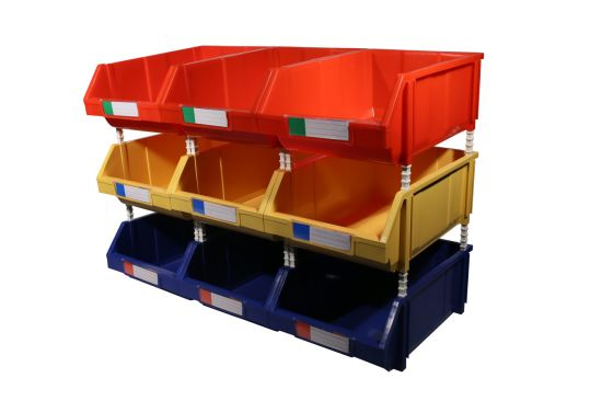 Stackable Warehouse Plastic Material Organizing Bins For Sale