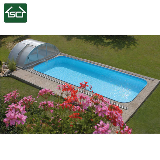 China retractable automatic swimming pool covers with polycarbonate roofing china aluminum for Retractable swimming pool covers