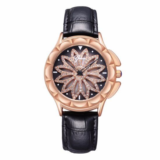 New Fashion Yadan Flower Dial Lady Watch with Genuine Leather Strap pictures & photos