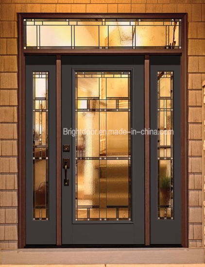 Modern Style Tinted Glass Swing Walnut Wood Door For Home