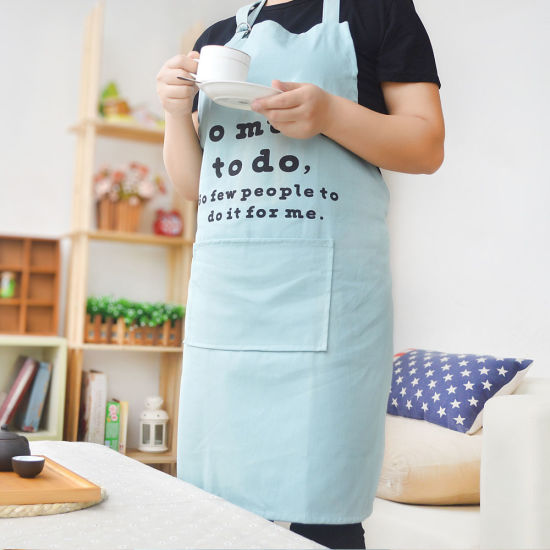 Cotton Canvas Adjustable Neck Strap Kitchen Apron with Customized Design pictures & photos