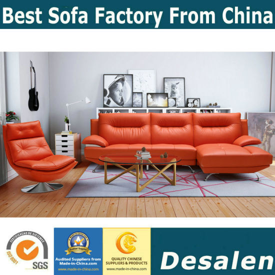 Small Modern Red Leather Sofa With Chair (612)