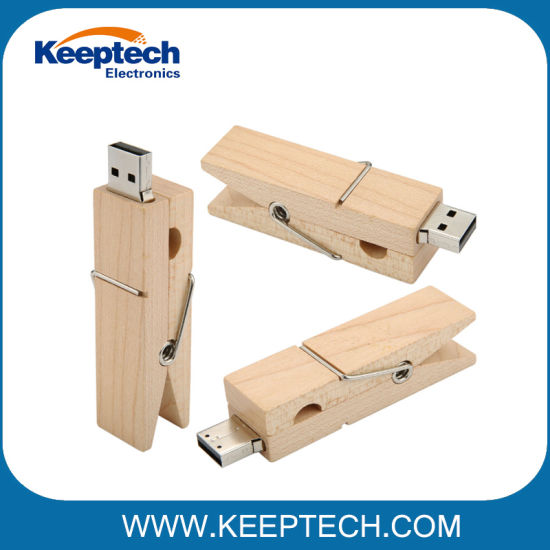 Creative Wooden Clip USB Flash Drive with Logo