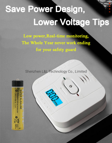 Wireless 433MHz, 1527 LCD Display Carbon Monoxide Alarm with Back up Battery