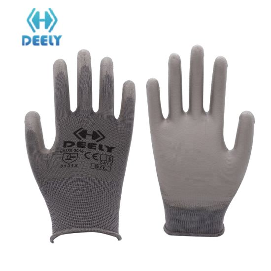 13G Polyester Liner with PU Coated Safety Work Gloves