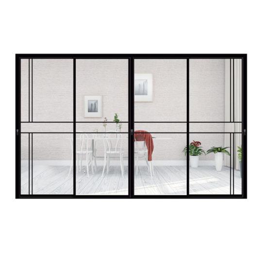 2020 Hot Sell Foshan Factory Double Tempered Glass Slim Frame Aluminum Sliding Doors