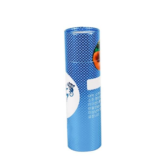 Custom Made Glossy Blue Foil Long Tube 30cm Height Cylinder Box Packaging
