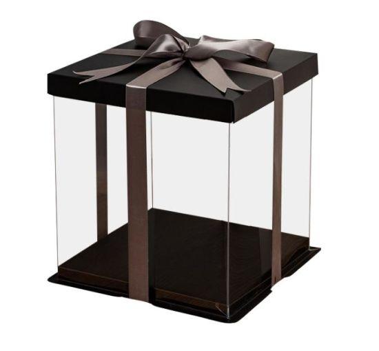 Wholesales Plastic Transparent Cake Box Gift Box with Free Logo Printing