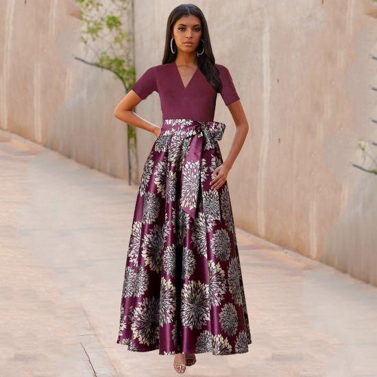 Summer Short Sleeve V-Neck Print Casual Dress Women Clothes