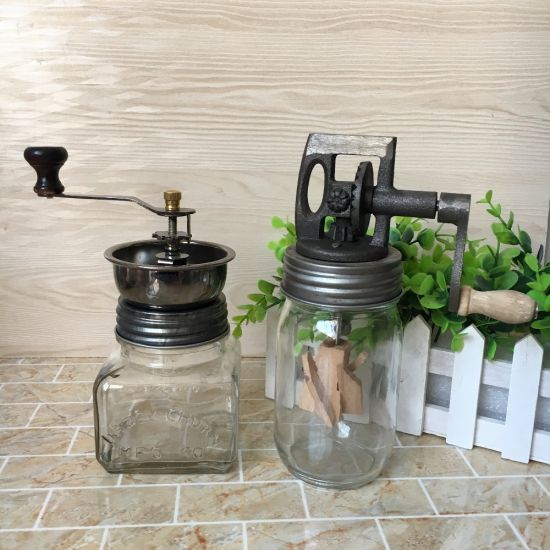 Hot Sell Manual 16oz 32oz Glass Mason Jar Coffee Bean Grinder Hand Crank Machine for Kitchen pictures & photos