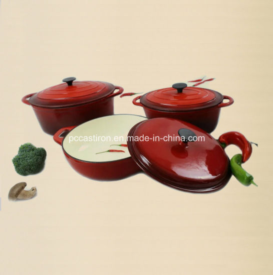 4PCS Cast Iron Cookware Set in Green Color pictures & photos
