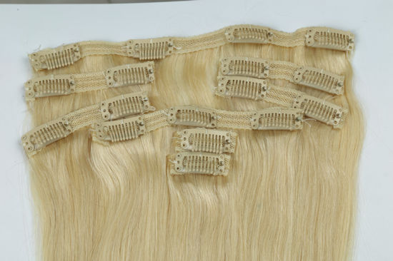 "High Quality 100% Human Hair Weave Clip-in Hair Extensions 20"" Color 27# 8PCS /Set pictures & photos"
