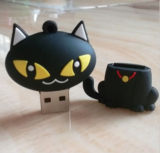 PVC Cat Shape USB Flash Drive 8GB/16GB/32GB for Customized Logo