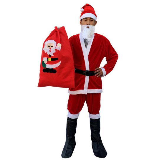 Wholesale Christmas Men Santa Claus Suits Santa Sets Adult Santa Suits Adult Plush Costume Santa Suits