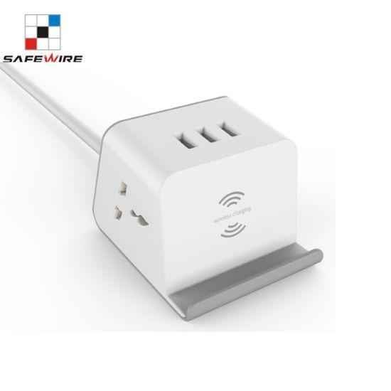 Portable USB Wireless Charger, 2AC Outlets, 3 Port USB3.0A Office Socket/Desk Socket