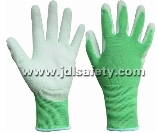 Garden Color Protect Hands Green Nylon Work Glove with PU Palm Coated (PN8004G)