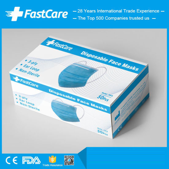 China Manufacturer Supplier of Earloop 3 Ply 3ply Disposable Medical Surgical Face Mask