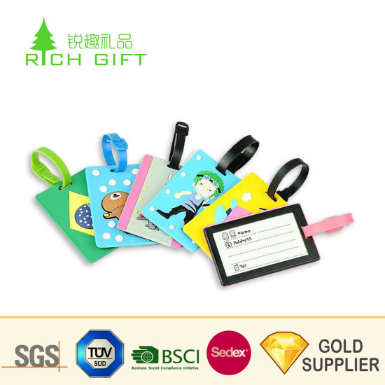High Quality Cheap Price Custom Personalized Soft PVC 3D Love Shaped Luggage Tags Wedding Favor pictures & photos