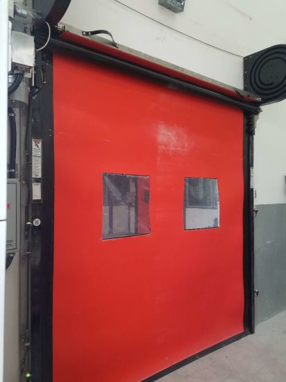 Exterior & Interior Rapid PVC Curtain Stacking High Speed Folding Security Industrial Rolling Door pictures & photos