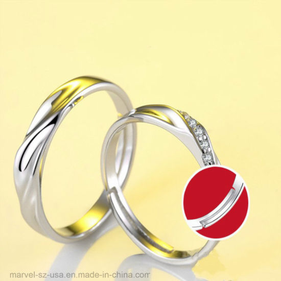 a701285f01 1pair Pure 925 Sterling Silver Open Rings for Women Men Adjustable Couple  Rings