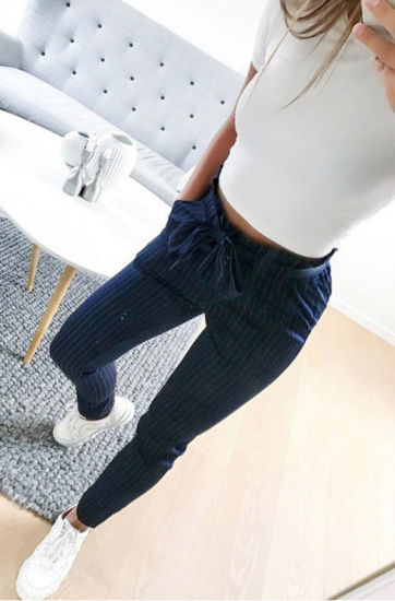 f87e6b2ebc8c Women Pencil Pants New Style Slim Stripe Nine-Cent Pants with Belt (18405)