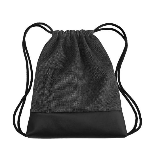 Casual Black Leather Bottom Drawstring Bag with Front Zipper Pocket pictures & photos