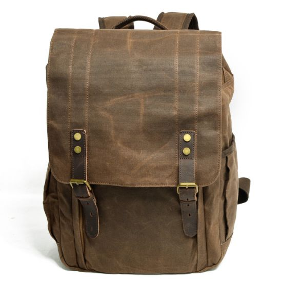 05aca6dd44 China Waterproof Waxed Canvas Leather Rucksack Unisex Backpack Bags ...