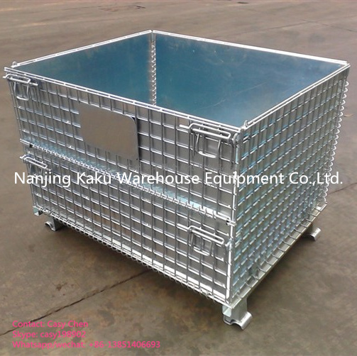 Heavy Duty Steel Collapsible Wire Mesh Pallet Box for Warehouse Storage