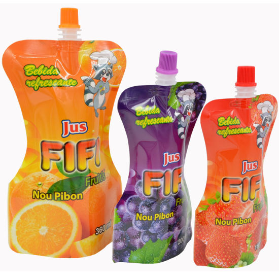 100ml - 200ml Custom Printing Shaped Plastic Laminated Liquid Food Packing Bag Stand up Drink Spout Pouch Juice Beverage Cocktail Packaging