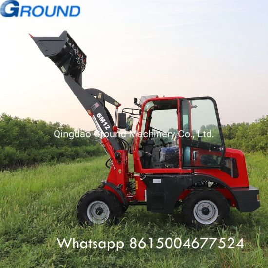 Four wheel drive loader for loading and unloading soil, logs, sand and other bulk materials with 1.2ton bucket