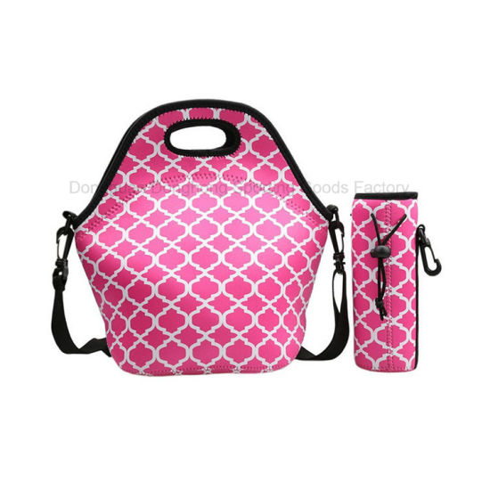 New Classic Style Insulated Neoprene Tote Lunch Shoulder Bag with Bottle Cooler Holder