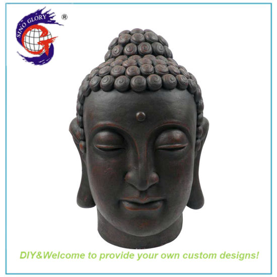 Wholesale 16 Inch Tall Black Large Buddha Head Statue