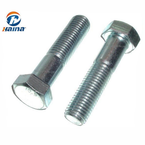 Full Thread Zinc Plated M24 Hexagon Head Bolt Steel Grade 8.8