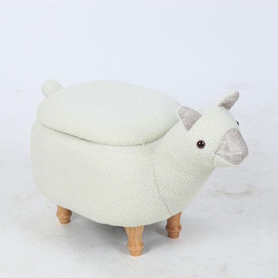 Kids Furniture Wooden Alpaca Shaped Animal Stool Storage Ottoman